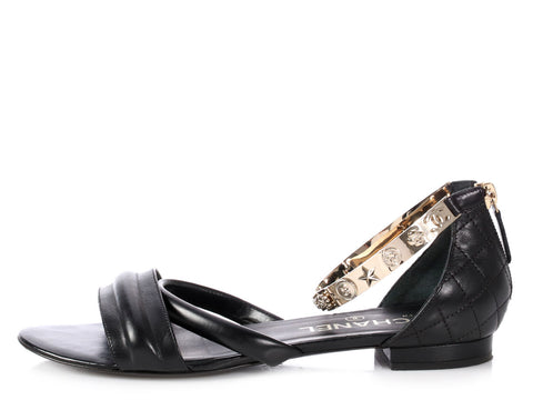 Chanel Black Lucky Charm Sandals