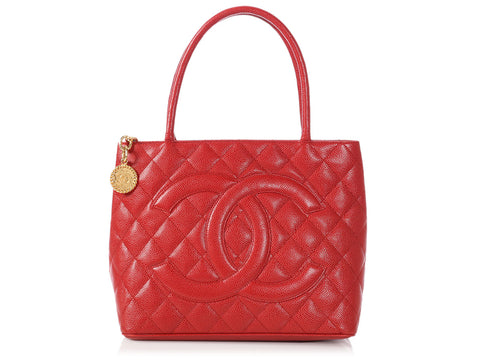 Chanel Red Quilted Caviar Medallion Tote