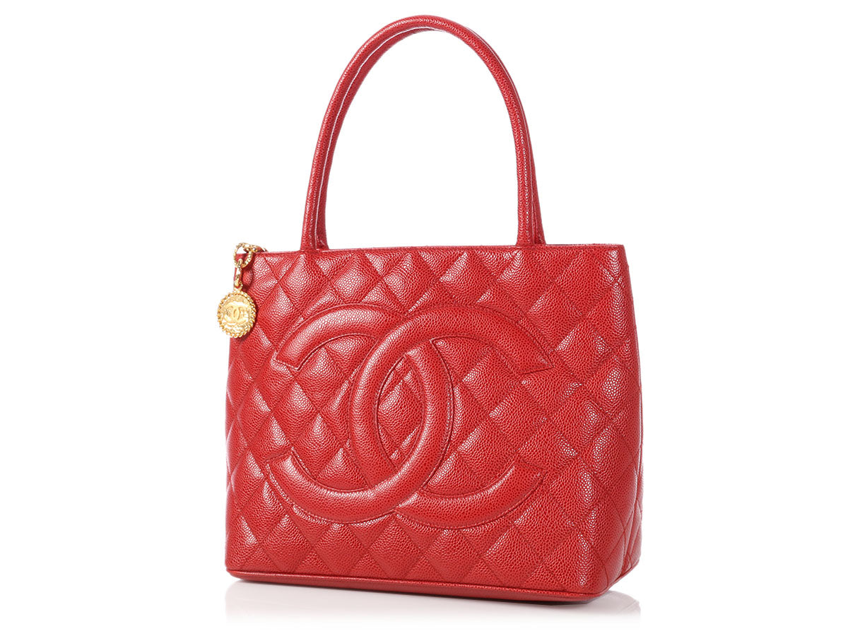 90cc2e11121c Chanel Red Quilted Caviar Medallion Tote
