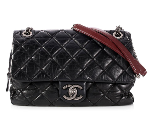 Chanel Black Quilted Distressed Leather and Tweed Flap