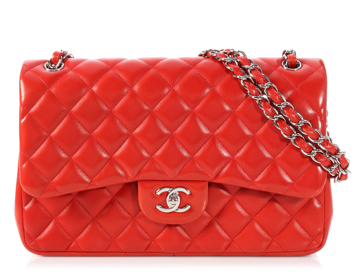 Chanel Jumbo Red Quilted Lambskin Classic Double Flap