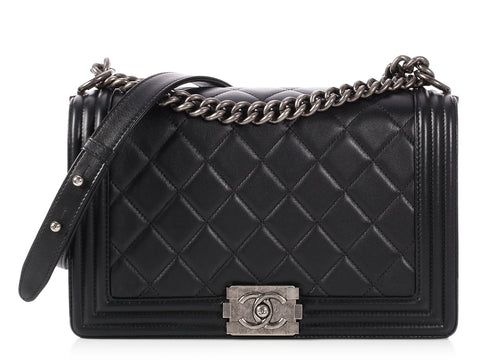 Chanel New Medium Black Quilted Calfskin Boy Bag