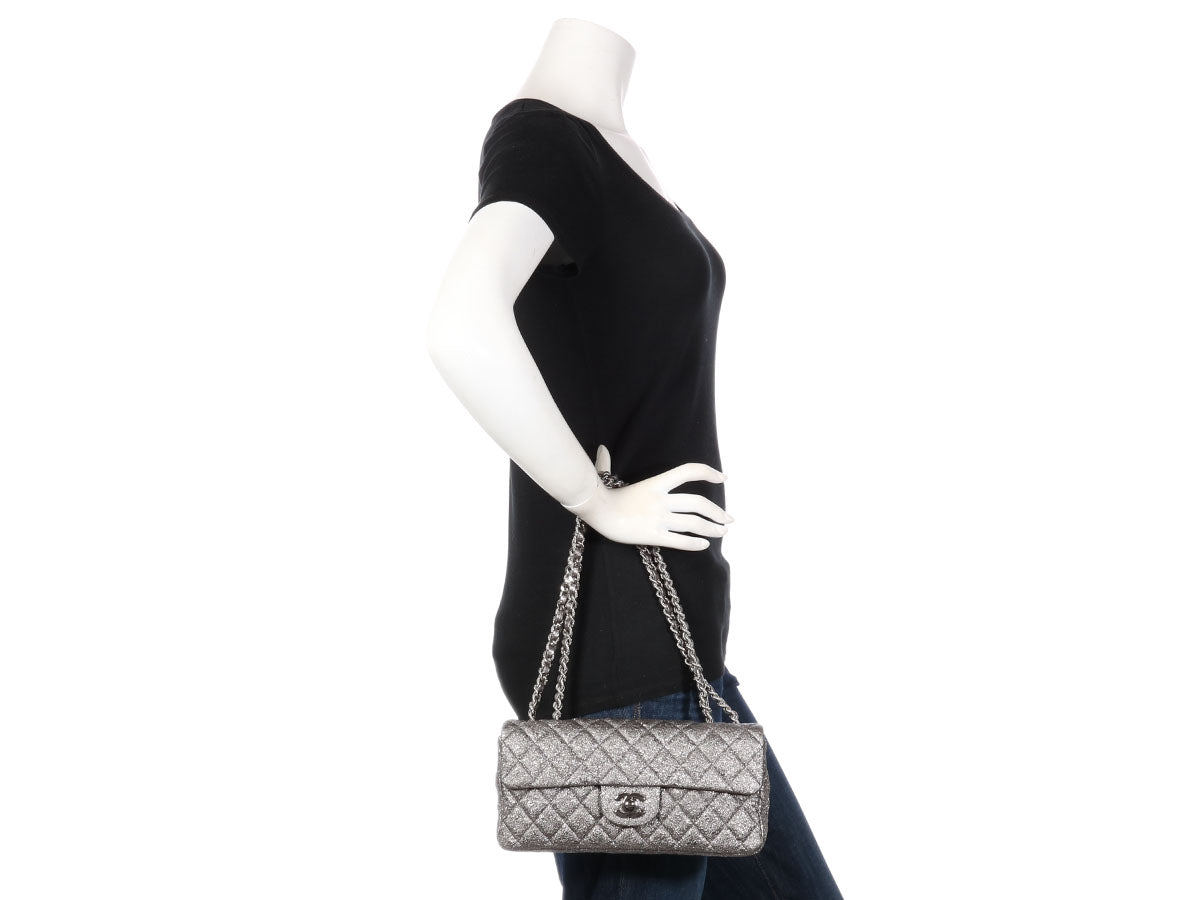 427b757d8094 Chanel Silver Metallic Crackled Quilted Leather East West Flap
