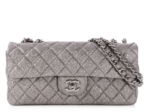 Chanel Silver Metallic Crackled Quilted Leather East West Flap