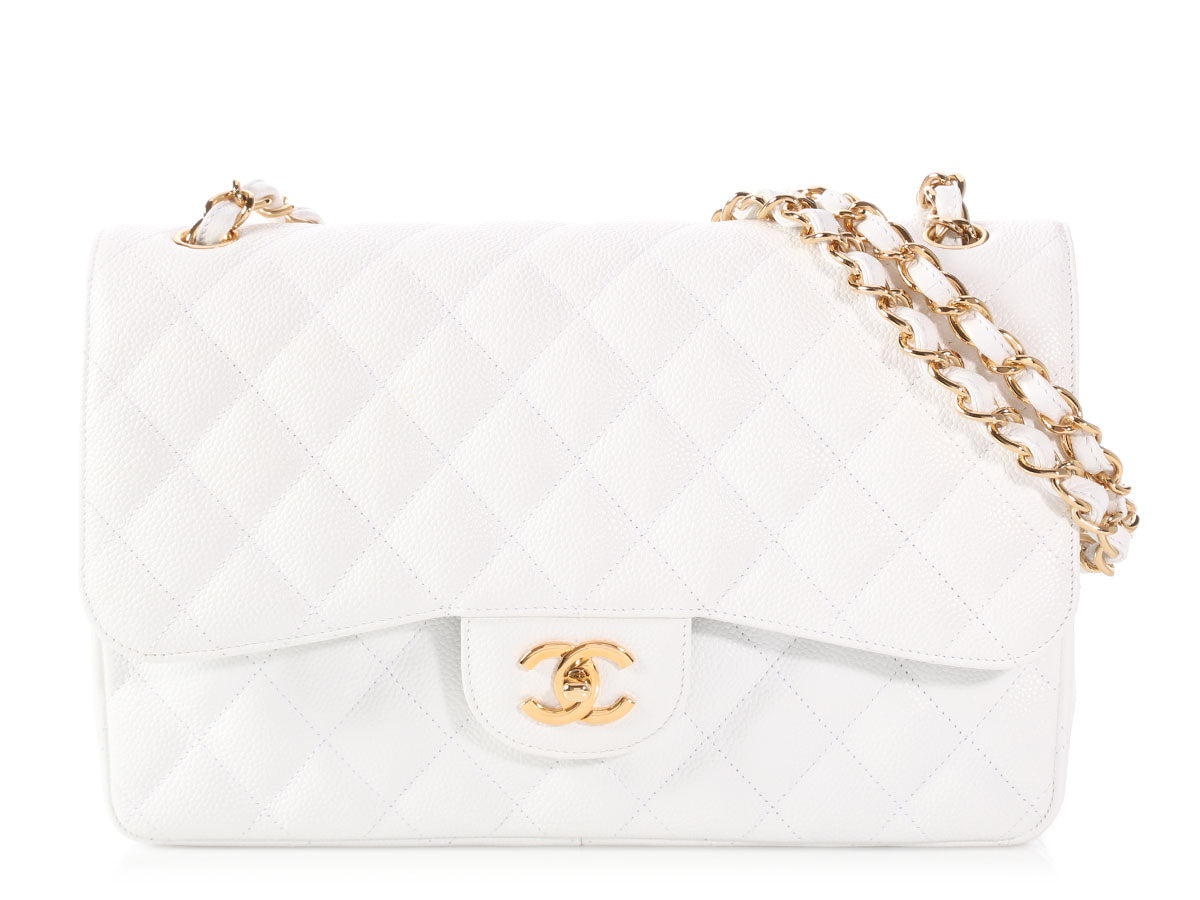 Chanel Jumbo White Quilted Caviar Classic Double Flap