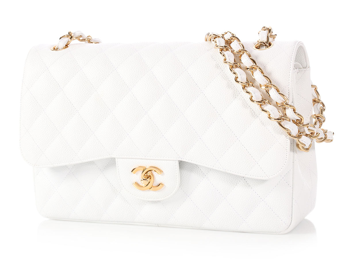 Chanel Jumbo White Quilted Caviar Classic Double Flap 0999cb17f289e