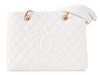 Chanel White Quilted Caviar Grand Shopping Tote GST