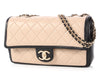 Chanel Black and Beige Park-Quilted Lambskin Flap