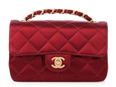 Chanel Mini Bordeaux Quilted Satin Classic