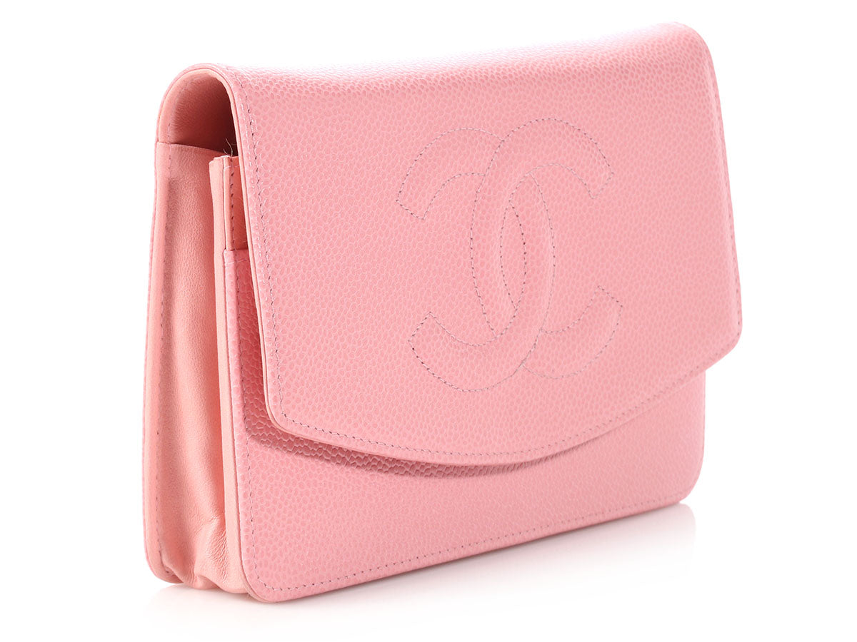 494f2728ab6e Chanel Light Pink Caviar Timeless Wallet on a Chain WOC