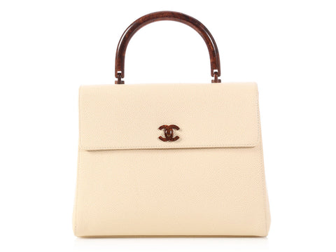 Chanel Light Beige Caviar and Resin Handle Kelly Bag