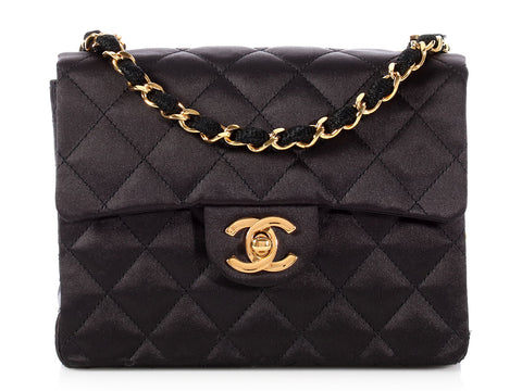 Chanel Vintage Mini Black Quilted Satin Classic Flap