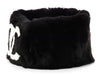 Chanel Black Rabbit Fur Logo Collar