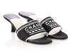 Chanel Black and White Fabric Mules
