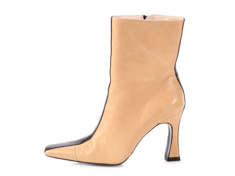 Chanel Beige and Black Ankle Boots