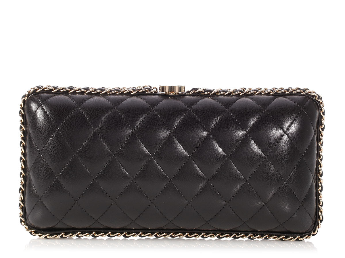 Chanel Black Quilted Lambskin Chain Around Clutch