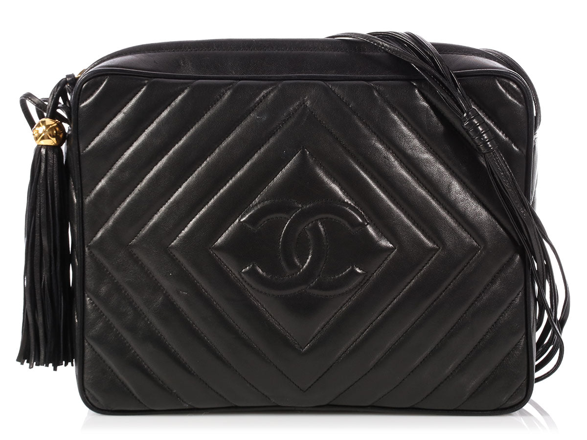 cafa980d5d51 Chanel Large Black Chevron-Quilted Lambskin Camera Bag