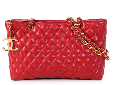 ba9082fb11cd Chanel Vintage Red Quilted Lambskin Tote