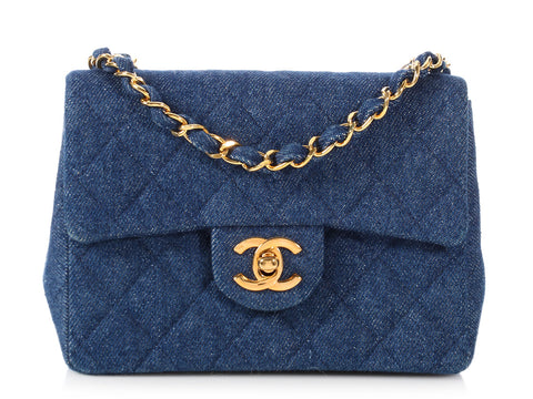 Chanel Mini Quilted Denim Classic Single Flap