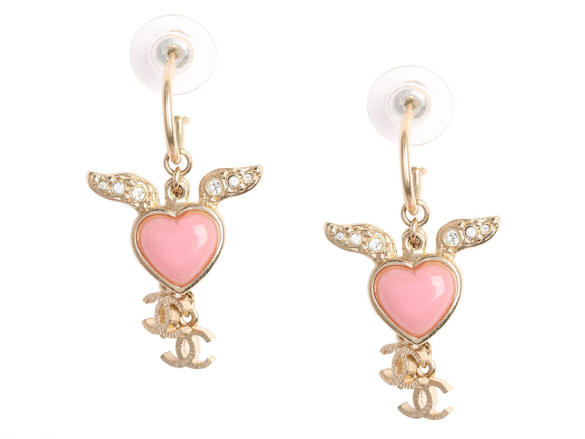 Chanel Pink Heart Logo Drop Earrings