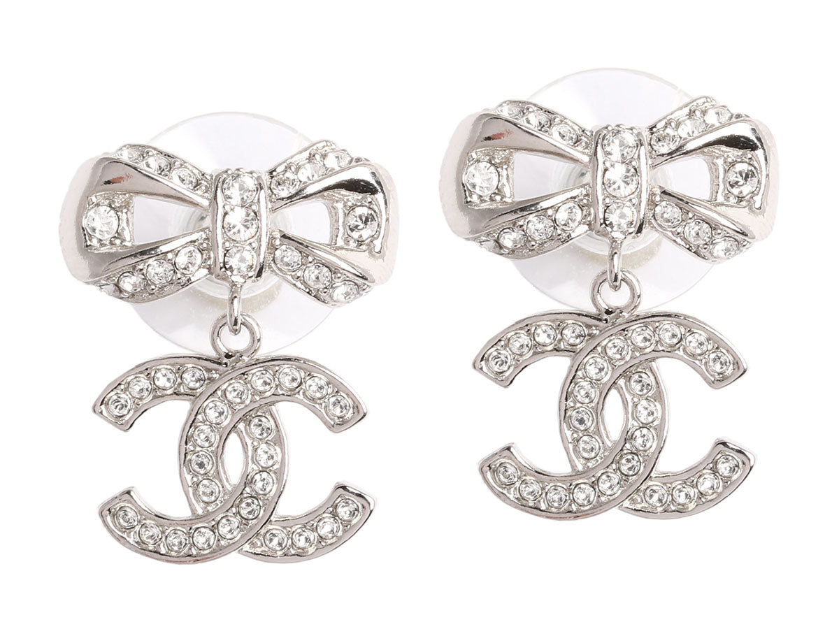 Chanel Crystal Bow Logo Earrings