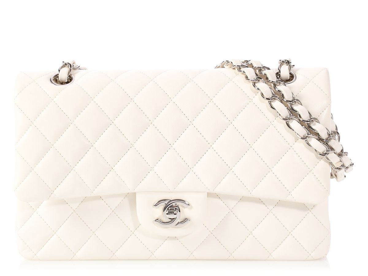 Chanel Medium/Large White Quilted Lambskin Classic Double Flap