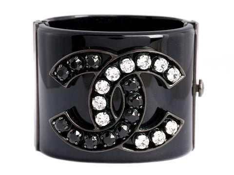 Chanel Wide Black and White Crystal Logo Bracelet