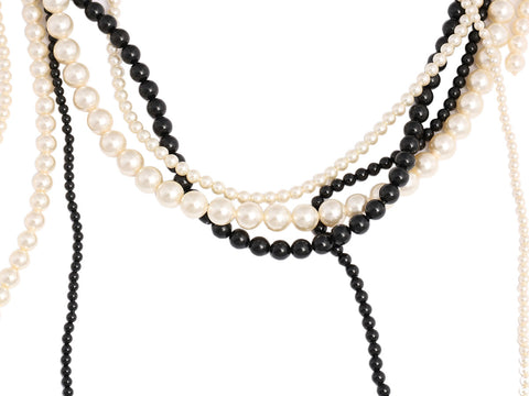 Chanel Multistrand Faux Pearl Logo Necklace