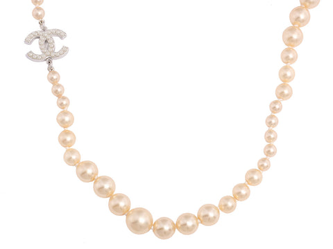 Chanel Long Pearl Logo Necklace