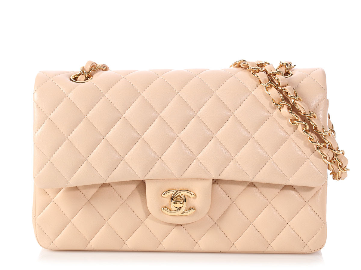 Chanel Medium/Large Beige Clair Quilted Lambskin Classic Double Flap