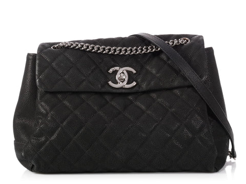Chanel Black Quilted Soft Caviar Calfskin Lady Pearly Flap