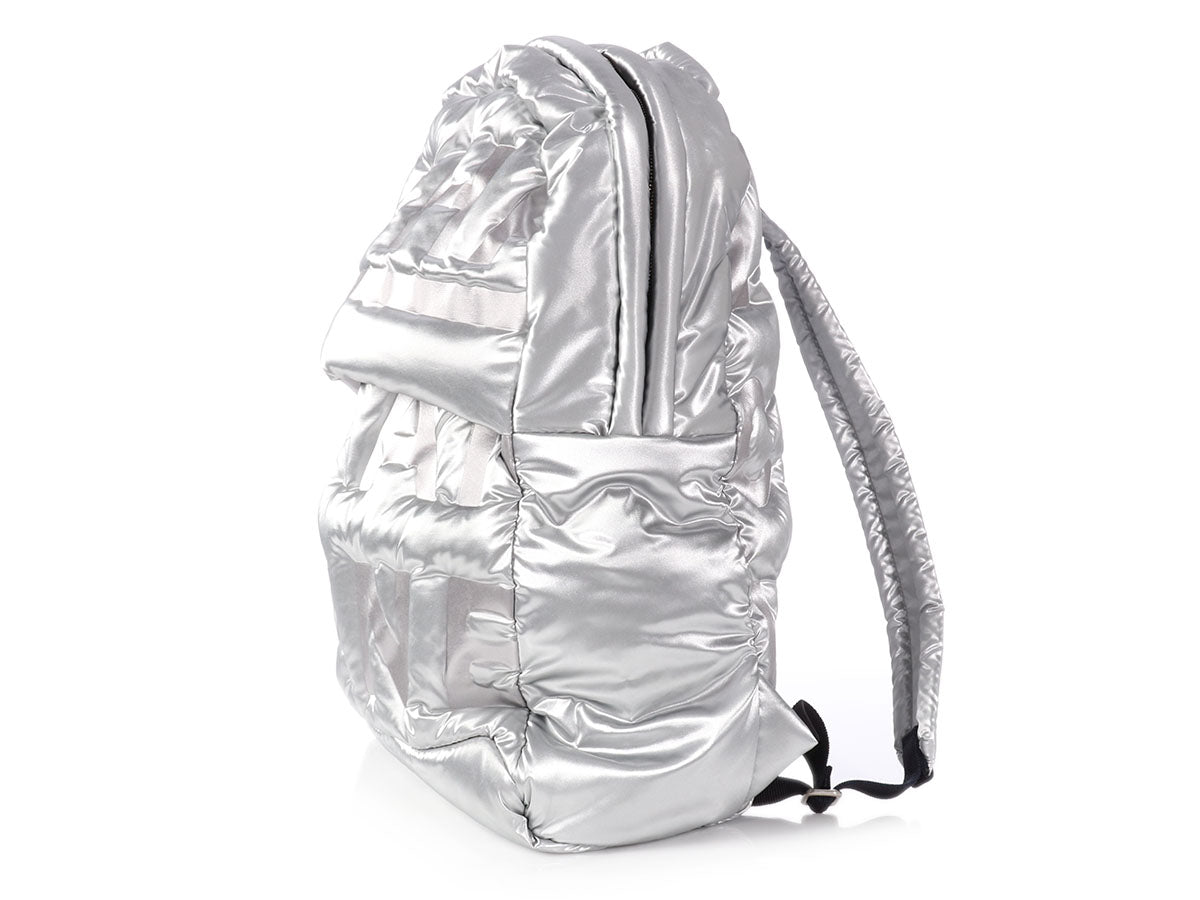 bdcfbf68fcbfc1 Chanel Large Silver Nylon Doudoune Backpack