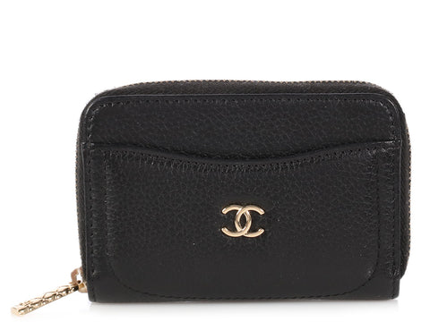 Chanel Black Caviar Credit Card Case/Coin Purse