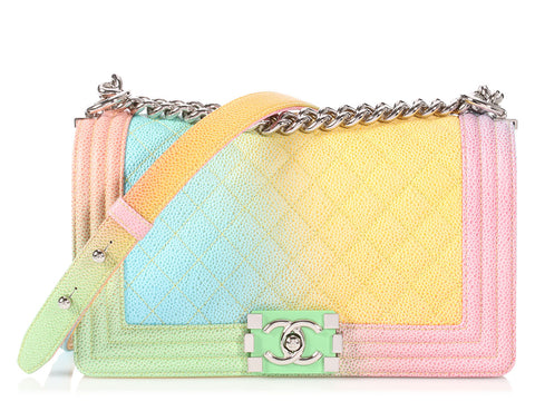 Chanel Old Medium Rainbow Quilted Caviar Boy Bag