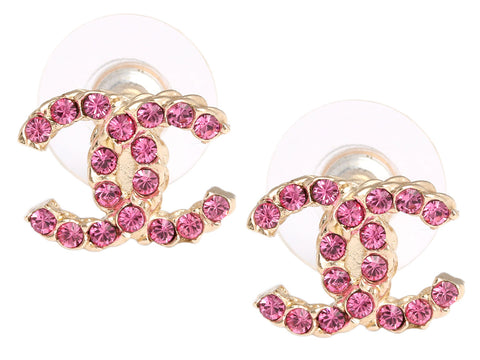 Chanel Pink Crystal Logo Earrings