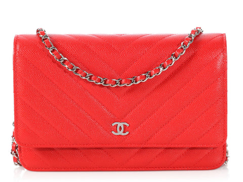 Chanel Bright Red Chevron Quilted Caviar Wallet on a Chain WOC