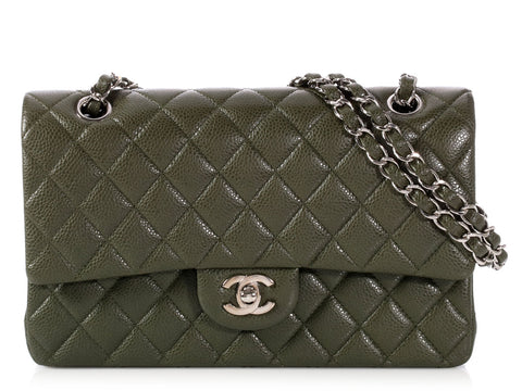 Chanel Medium/Large Vert Foncé Quilted Caviar Classic Double Flap