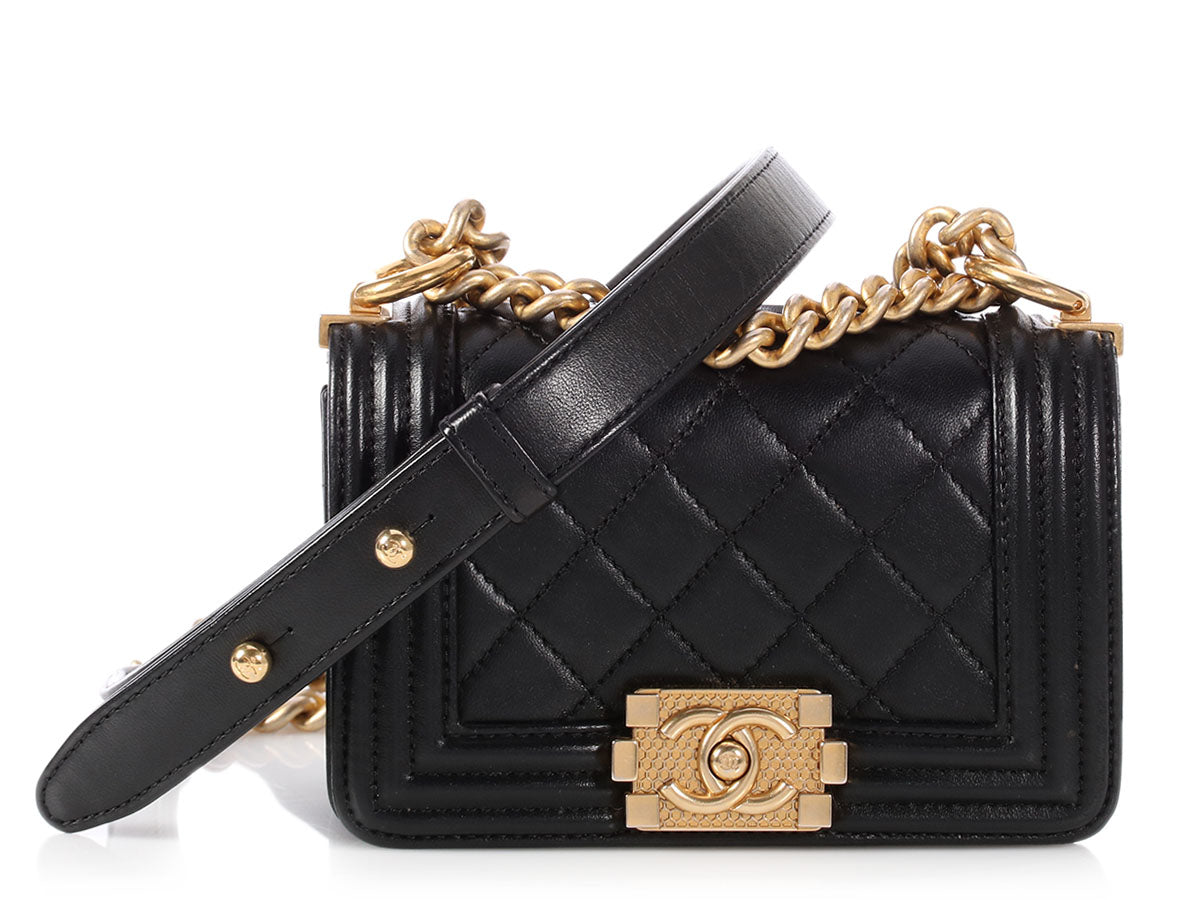 3fc7d017c3e5 Chanel Mini Black Quilted Lambskin Boy Bag