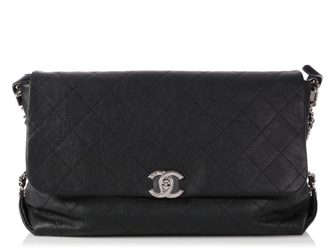 Chanel Large Black Quilted Calfskin Braided With Style Flap