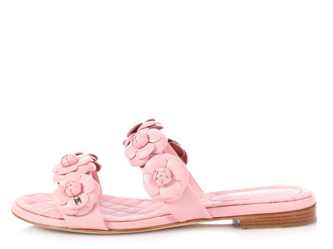 Chanel Pink Camellia Flats