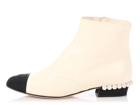 Chanel Ivory Lambskin Short Boots