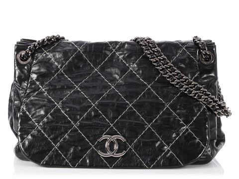 Chanel Black Diamond-Quilted Shiny Distressed Calfskin Accordion Tote