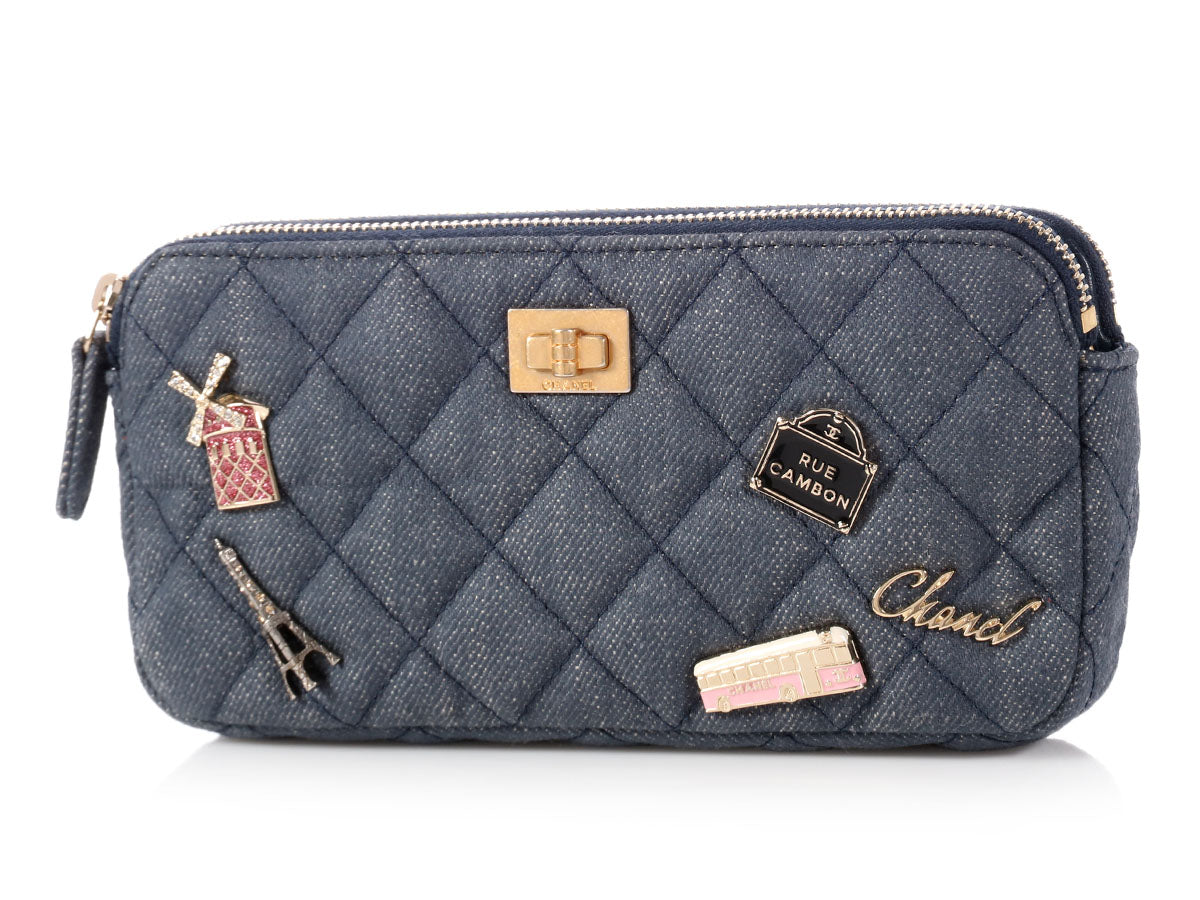 2bf83511c5e237 Chanel Quilted Denim Charms Wallet on a Chain