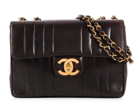 Chanel Vintage Black Vertical Quilted Lambskin Flap
