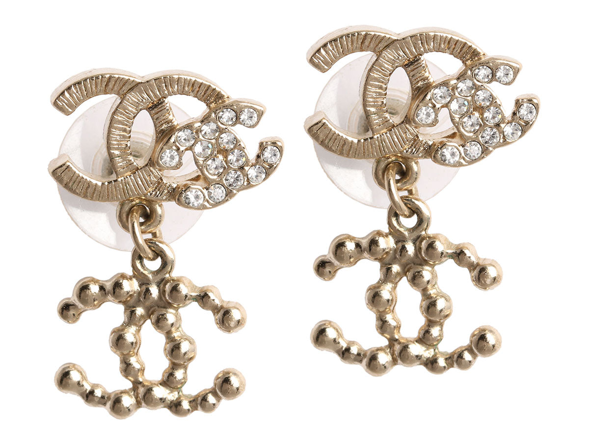 Chanel Crystal Logo Drop Earrings