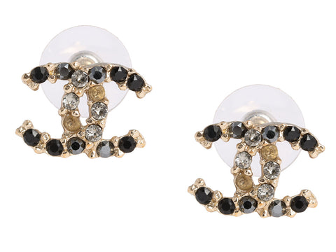 Chanel Black and Gray Crystal Logo Earrings