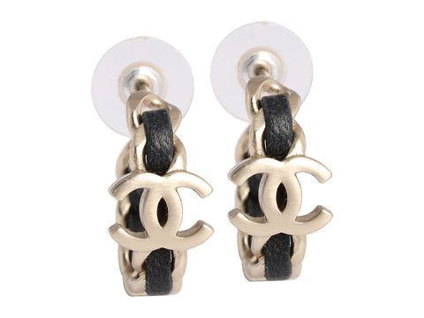 Chanel Leather Logo Hoop Earrings