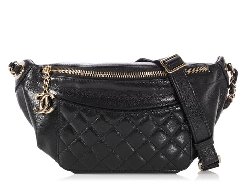 Chanel Black Calfskin Bi Classic Waist Bag