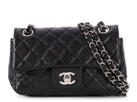 Chanel Mini Black Quilted Caviar Classic Single Flap