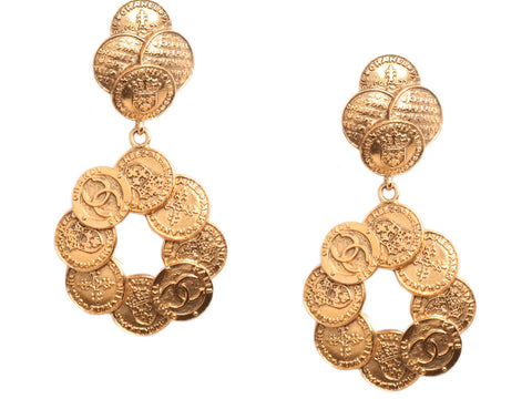 Chanel Vintage Coin Drop Earrings